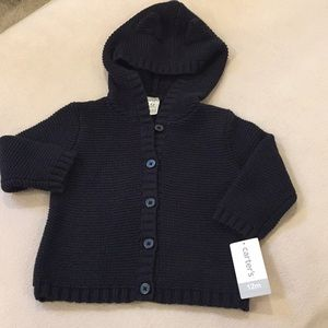 NWT Carter's button up knit sweater, size 12m